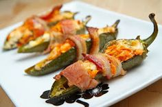 Bacon Rapped Buffalo Chicken Jalapeño Poppers...Spicy!!