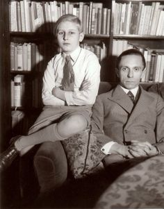Goebbels with his stepson, Harald Quandt.  Joseph was very fond of Harald, so much so that after he wed Magda he forced her ex-husband and Harald's father, Gunther Quandt, to drop the provision in their divorce agreement requiring Harald to live with him in the event his mother remarried.