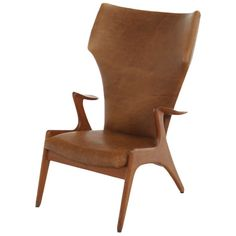 Sculptural Oak and Leather Lounge Chair by Kurt Ostervig ca.1960's | 1stdibs.com
