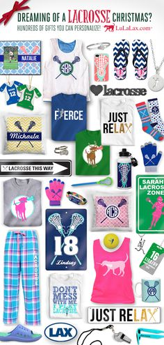 We have hundreds of gifts that you can personalize, making them perfect Christmas gifts for any laxer!