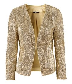 Blazer $59.95  Description    Short, fitted jacket with a sequin pattern and no buttons. Lined.