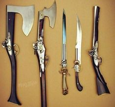 Only thing is guns Weapons Guns, Guns And Ammo, Steampunk Weapons, Medieval Weapons, Steampunk Clothing, Beil, Weapon Concept Art, Swords And Daggers, Cool Knives