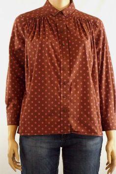 Liz Claiborne 18W Blouse Brown/Pink Floral Long Sleeve Button Front Cotton Blend #LizClaiborne #Blouse #Casual