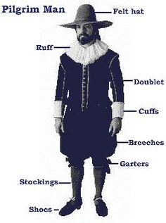 Clothing for the typical English yeoman in the early 17th century...i.e. Pilgrims coming to Plymouth in 1620.