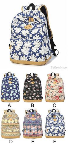 Which color do you like?Women Girl Fresh Vintage Cute Floral Flower School Book Campus Bag Canva Backpack #school #college #student #backpack #Bag #rucksack #travel #camping #girl #fashion #cute