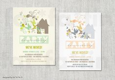 Housewarming Party Invitation | PRINTABLE Whimsical Pastels Colorful Butterflies & Decorative Florals Party Invite PRINTED Card / pdf / jpg by fatfatin
