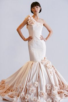 Pink #wedding dress with flowers from Dennis Basso, Spring 2013