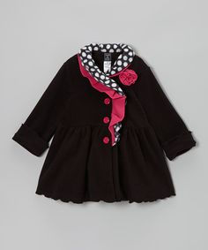 Black Ruffle-Collar Coat - Infant, Toddler & Girls