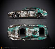 Wrap design concept rusty turquoise for Porsche Panamera Turbo
