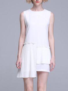 White Statement Crew Neck Paneled H-line Midi Dress
