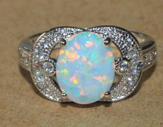 white fire opal Cz ring gemstone silver jewelry Sz 6.25 cocktail engagement AK87 #Cocktail