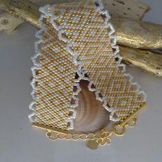 Bracelet manchette perles delicas plaque or 24 carats