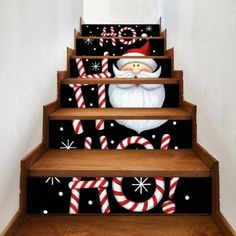 Cartoon Santa Claus Print 6 Pieces Home Stairs Stickers