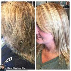Social #LOVE  When U have crazy hair or you work with clients with crazy hair... You know what you like and what you don't like... #shardsofrobbie tamed the #blonde head of #hair @Regrann_App from @shardsofrobbie -  Keratin Treatment! Before & After! #k-fusion  @patricialynnlaas I am obsessed with this product!  Patricia Lynn Laas HairCo - #regrann