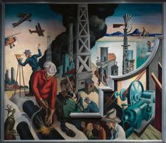 """""""Thomas Hart Benton's 'America Today' Mural Rediscovered,"""" on view through April 19, 2015, celebrates the gift of Benton's epic mural """"America Today"""" from AXA Equitable Life Insurance. Benton painted this mural for New York's New School for Social Research to adorn the school's boardroom in its International Style modernist building on West 12th Street. 