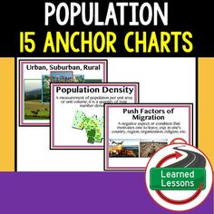 Population 15 Anchor Charts (Great as Bellringers, Word Walls, and Concept Boards) THIS IS ALSO PART OF SEVERAL BUNDLES -World Geography MEGA BUNDLE-People & Resources (Population, Culture, Land Use) BUNDLE -Geography ANCHOR CHART BUNDLE-VISIT MY STORE AND FOLLOW TO GET UPDATES WHEN NEW RESOURCES ARE ADDED Anchor charts are great for representing the topics covered with bright and clear visuals.