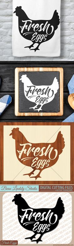 Farm Chicken SVG, Fresh Eggs SVG, French Hen SVG, SVG File For Silhouette Pattern, SVG File For Cricut Projects, SVG Format File, Chicken Clip Art. Includes SVG File, DXF File, PNG Image File.  This fun vinyl design is of a French hen or chicken with a Fresh Eggs sign on top. It would be perfect for so many fun kitchen projects, hostess gifts, signs and so much more! By: www.beaulindslystudio.com