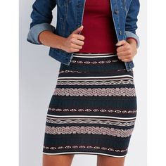 Charlotte Russe Printed Bodycon Mini Skirt ($6.59) ❤ liked on Polyvore featuring skirts, mini skirts, black multi, patterned mini skirt, print skirt, tribal bodycon skirt, tribal print mini skirt and patterned skirts
