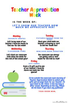 [Kids and parenting]Teacher Appreciation Week schedule Teacher Appreciation Week Schedule, Teacher Appreciation Gifts, Teacher Gifts, Message For Teacher, Teacher Stuff, Appreciation Message, Diy Gifts For Mom, Baby Gifts, Room Mom