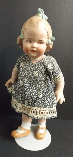 """9"""" All Bisque Heubach Girl with Blue Bows, Original Clothes from antiquedolladdiction on Ruby Lane"""