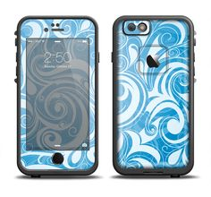 The Vector Blue Abstract Swirly Design Apple iPhone 6/6s Plus LifeProof Fre Case Skin Set from DesignSkinz