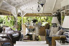 Blue and white Caribbean inspired veranda