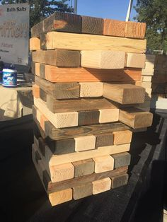 Jumbo Jenga Yard Game Custom Stained by GSHCustoms on Etsy