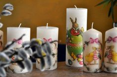 Pillar Candles, Decoupage, Paper, Easter Candle, Simple Diy, Stamps, Easter Activities, Colors, Breien