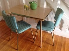 MINT Mid Century Modern COOL vintage retro kitchen table and two chairs turquoise upholstery on Etsy,