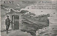 World War I Postcard Kent Doorway To England - No Germans Admitted