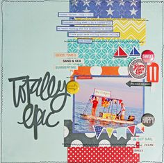#papercraft #scrapbook #layout. Totally Epic - Scrapbook.com - include small rectangles of patterned paper to work with several different patterns without overwhelming your layout.