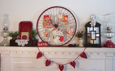 Organized Clutter: A Valentine's Day Mantel