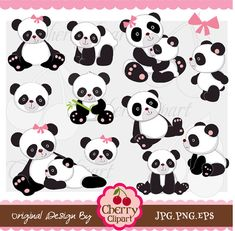 Panda Digital Clip Art Set for-Personal and Commercial Use-Card Design, Scrapbooking, and Web Design Bolo Panda, Panda Lindo, Cute Clipart, Clipart Images, Digital Collage, Digital Papers, Digital Scrapbooking, Camping Crafts, Cute Panda