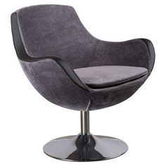 Curving arm chair with a modern silhouette and chrome pedestal base.   Product: ChairConstruction Material: Metal...