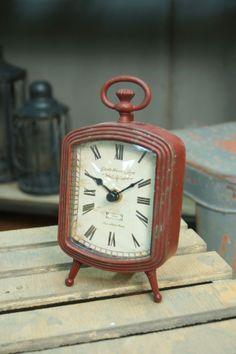 Red Metal Table Clock