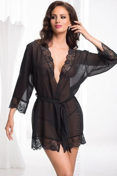 Claasic black dressing gown made from soft transparent chiffon. The collar, cuffs and hem of the robe is edged with gorgeous black lace. A chiffon waist tie is also included.