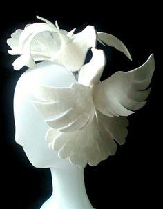 Heart doves kiss Bridal wedding headpiece by Ozmonda Fascinator, Headpiece, Wedding Hats, Kiss, Bridal, Heart, Plants, Headdress, Headdress