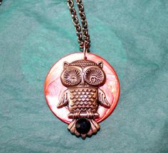 Lovely owl on Disc pendant by GrayStormCreations on Etsy, $15.00
