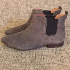 """Madewell Nico Boot A pull-on Chelsea boot with a pointy toe in buttery soft suede. Sleek, sharp and even a bit alluring. Suede upper. Leather lining. 4"""" shaft height (based on size 7). 10 1/5"""" shaft circumference. 7/10"""" heel. Man-made sole. Import. Castle Rock color, 7 medium size. Brand new, never worn. Madewell Shoes Ankle Boots & Booties"""
