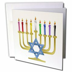 gc_107250_1 Lee Hiller Designs Judaica - Judaica Chanukah Hannukah Rainbow Candles Menorah - Greeting Cards-6 Greeting Cards with envelopes  by Lee Hiller #Photography and Designs