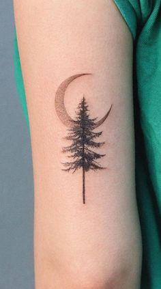 Small Music Tattoos, Music Tattoo Designs, Tree Tattoo Designs, Maple Tree Tattoos, Pine Tree Tattoo, Baby Tattoos, Little Tattoos, Pino Tattoo, Save Me Tattoo