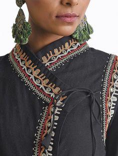 Black Hand-embroidered Rabari Handloom Cotton Angrakha by Jaypore Embroidery On Kurtis, Kurti Embroidery Design, Hand Embroidery Designs, Embroidery Art, Dress Neck Designs, Collar Designs, Mirror Blouse Design, Collar Kurti, Black Kurti