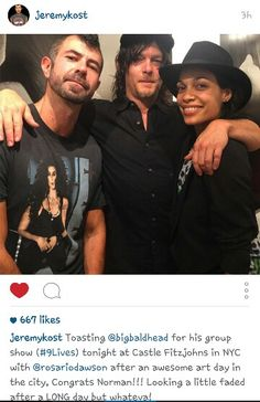 Norman Reedus, Jeremy Kost, and Rosario Dawson, at art exhibit on 5/16/2015, from @jeremykost on instagram.