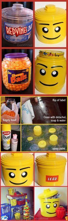 """Cómo hacer un contenedor """"Lego"""" de juguetitos"""
