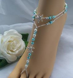 Elegant Barefoot Sandals | Starfish Wedding Barefoot Sandal Bridal Starfifsh Foot Jewelry Anklet ...