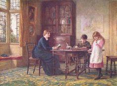 """Lessons"". Helen Allingham (1848 – 1926) English painter."