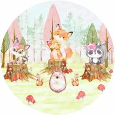 Forest Animals, Woodland Animals, Sweet Magic, Kids Graphics, Baby Posters, Baby Shower Cookies, Woodland Baby, Baby Time, Animal Party
