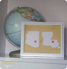 Silhouettes of states....can even make them to show a marriage of people from two different states..CUTE