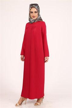 Aysima Piliseli Elbise Kırmızı 9687
