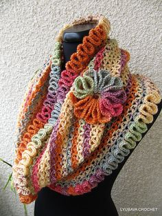 """Crochet Infinity Scarf """"Happy Autumn Colors"""" Tutorial Pattern pattern by Lyubava Crochet. Like the flower also, I think the yarn colors enhance the flower. Gilet Crochet, Crochet Amigurumi, Crochet Scarves, Crochet Shawl, Crochet Yarn, Crochet Clothes, Ravelry Crochet, Crocheted Scarf, Crochet Granny"""